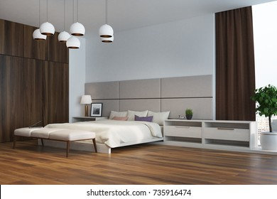 White and beige bedroom interior corner with a double bed, several bedside tables, a wooden wardrobe and large windows with brown curtains. 3d rendering mock up
