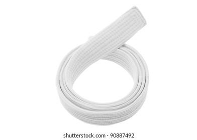 White belt isolated on white background