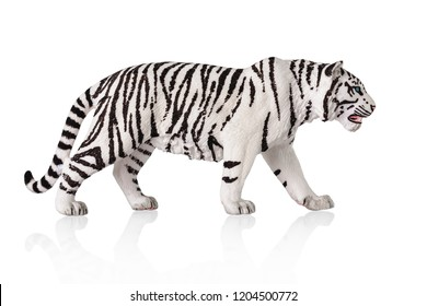White bengal tiger toy. Isolated over white background.