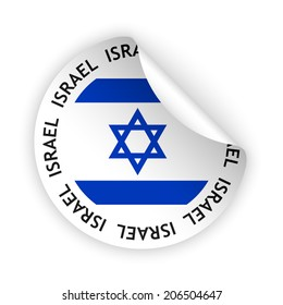 white bent sticker with flag of the israel (raster version, available as vector too)