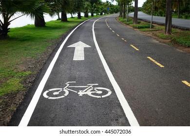White bicycle sign on asphalt bike lane parallel jogging tracks