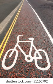 White bicycle sign painted on asphalt