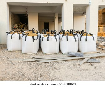white big bag sand sacks on site