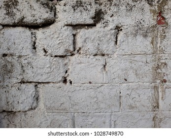 white big brick wall building textured have break and abrasive line for background