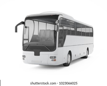 White big tour bus isolated on a white background, front view. 3D rendering