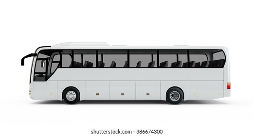 White big tour bus isolated on white background