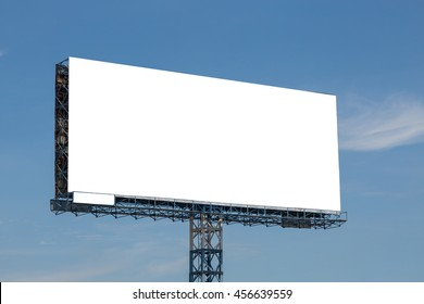 White billboard with blue sky and clouds background