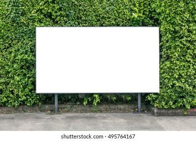 White billboard mockup on spring summer green leaves background.