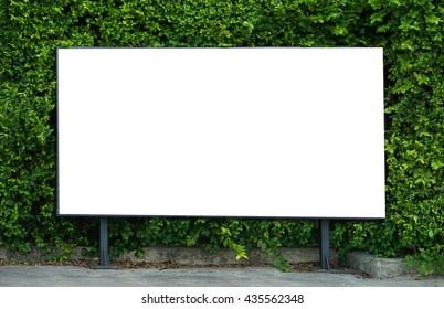 White billboard on spring summer green leaves background.