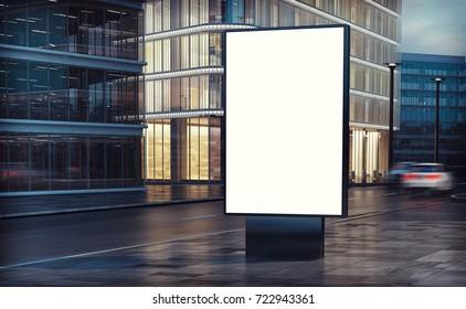 white billboard on the street 3d rendering