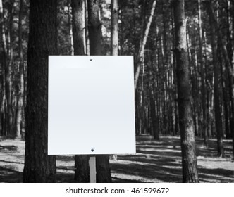 White billboard at the park with space for your advertisement, Black and whie tone