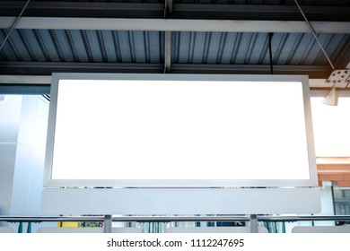 White billboard at the sky train(BTS )station for mockup and design.for customer information services and advertising,Business Marketing.Frame.label