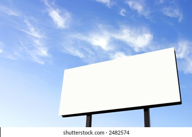 White billboard and a wispy blue sky - Note improved version of the earlier image