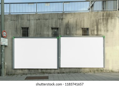 white Billboards on grey background inindustrial area