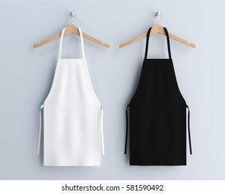 White and black aprons, apron mockup, clean apron