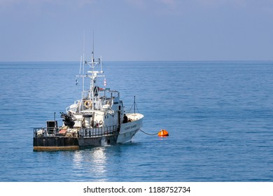 White black coast guard vessel at sea.