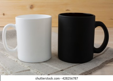 White and black coffee mug mockup. White mug mockup. Blank mug.