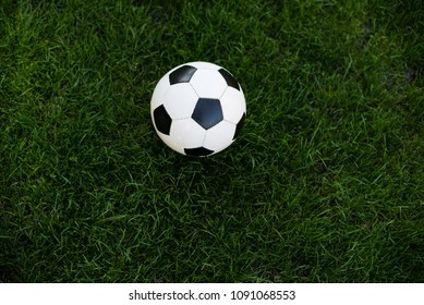 White and black football ball on green lawn