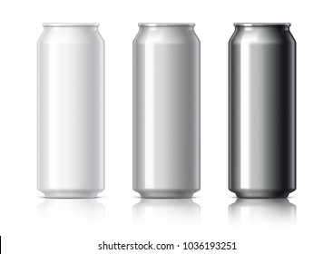 white black and gray aluminum cans for beer and soft drinks or energy. Packaging 500 ml. Object, shadow, and reflection on separate layers. 3D illustration.