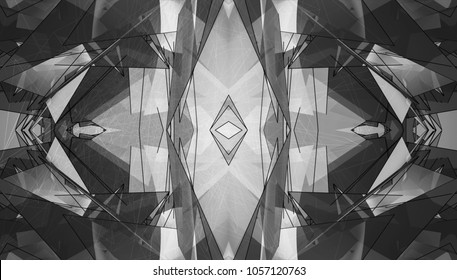 White and black kaleidoscope patterns. Decorative ornament mandala. Abstract flowers, elements and stars. Geometric design forms. Beautiful wallpaper, paintings, fabric, illustration, furniture print.