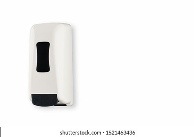 White and black liquid hand soap dispenser plastic mounted on wall refillable large