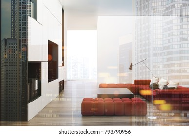 White and black living room interior with a built in TV set, two soft red sofas and a square coffee table. 3d rendering toned image double exposure mock up