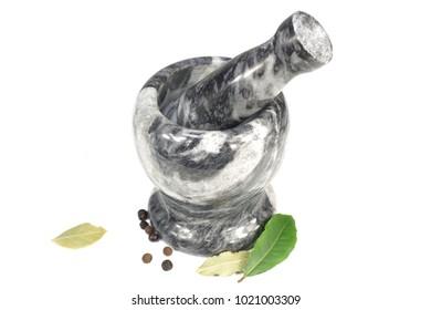 white black marble mortar   on white background