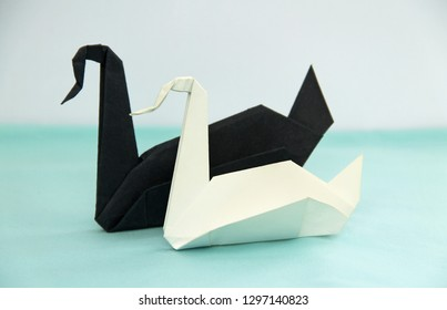 white and black origami paper swans, anti-racist concept