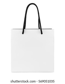White and black paper shopping bag isolated