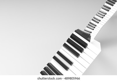 White And Black Piano Keys Zig Zagged Across A Transparent Background -3D Illustration
