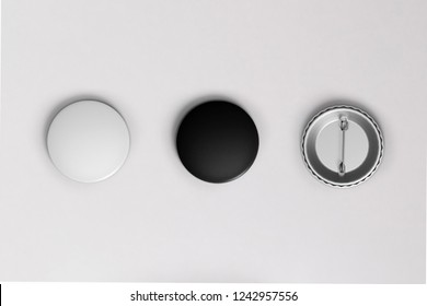 White and black pin button. Pin button set. Collection of realistic pin buttons. White blank badge pin brooch isolated on white background
