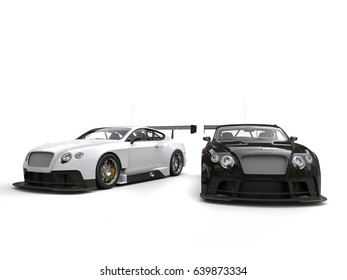 White and black race super cars - side by side - 3D Illustration