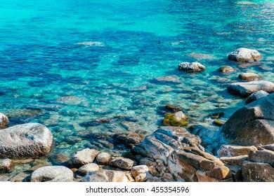 White Black Rock Beach in the Island Ocean Green Blue Sea Sky. Koh Tao and Koh Nang Yuan Thailand