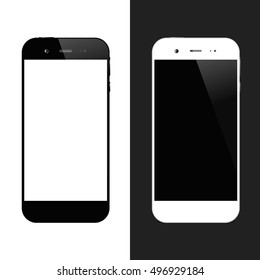 White and black smartphones. Cellphone isolated. Mobile phone illustration