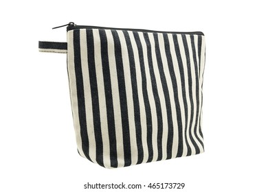 White and black striped fabric bag isolated on white background