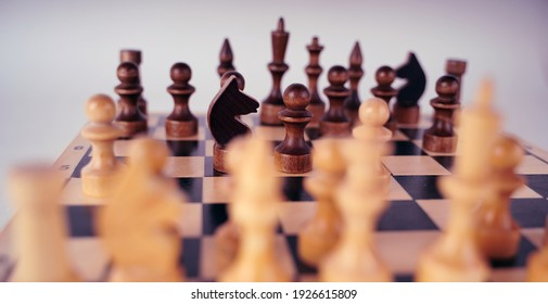 White and black wooden pieces on a chessboard. A chessboard set up during a game on a gray background