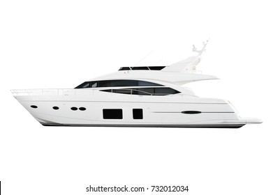 white and black yacht motor boat isolated on white background.