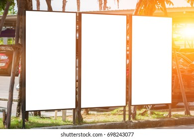 white blank billboard and sunlight of sunset - can advertisement for display or montage product and business