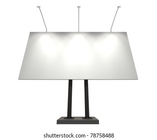 White blank board for advertisement, isolated on white, with clipping path, 3d illustration