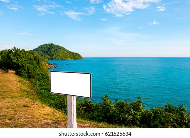 white blank board with blue sea