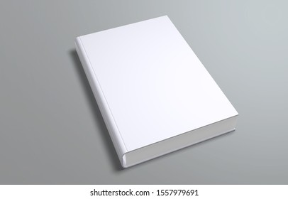 White blank book cover template, psd mockup