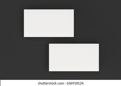 White blank business cards mock-up on black background. Corporate stationery template. 3D rendering illustration