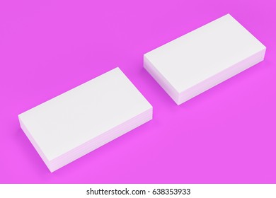 White blank business cards mock-up on violet background. Corporate stationery template. 3D rendering illustration
