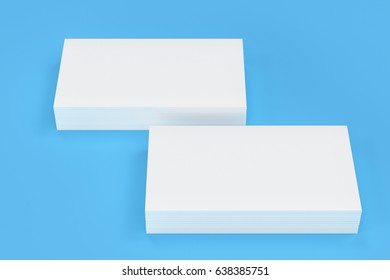 White blank business cards mock-up on blue background. Corporate stationery template. 3D rendering illustration