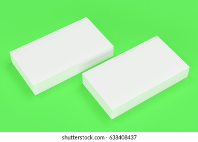White blank business cards mock-up on green background. Corporate stationery template. 3D rendering illustration