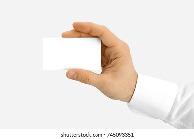 White blank Bussines cards in hands, on white background. in Womens hands, in mens hands. With shadow. Top, frot, side view. photo shoots. man woman company b-cards