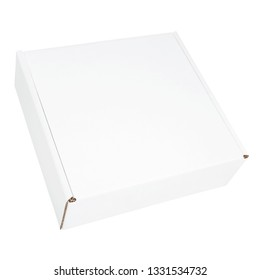 White blank cardboard box isolated on white background. White box mockup isolated on white