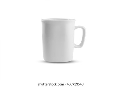 White blank coffee cup put on white background