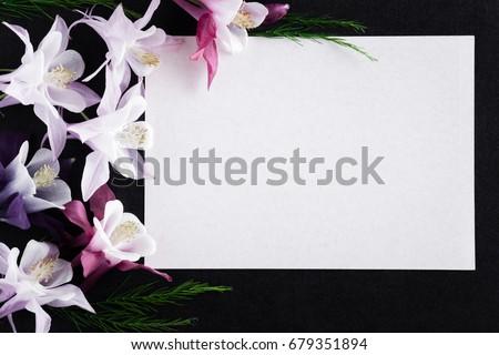 white blank condolence card fresh flowers stock photo edit now