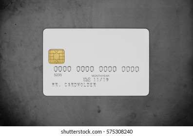 White blank credit card on concrete background